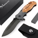 BERGKVIST® 3-in-1-Klappmesser K19 [2018] extra scharf Taschenmesser mit edlem Holzgriff Outdoor Messer mit Titaniumklinge aus rostfreiem Edelstahl | Einhandmesser mit Schleifstein & Gürteltasche - 1